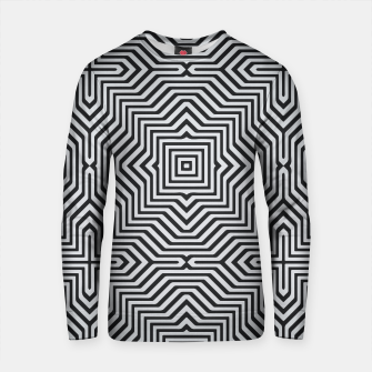 Miniature de image de Minimal Geometrical Optical Illusion Style Pattern in Black & White Cotton sweater, Live Heroes