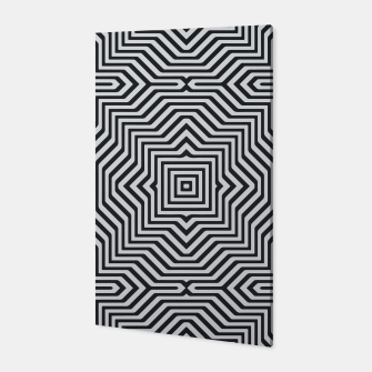 Minimal Geometrical Optical Illusion Style Pattern in Black & White Canvas miniature