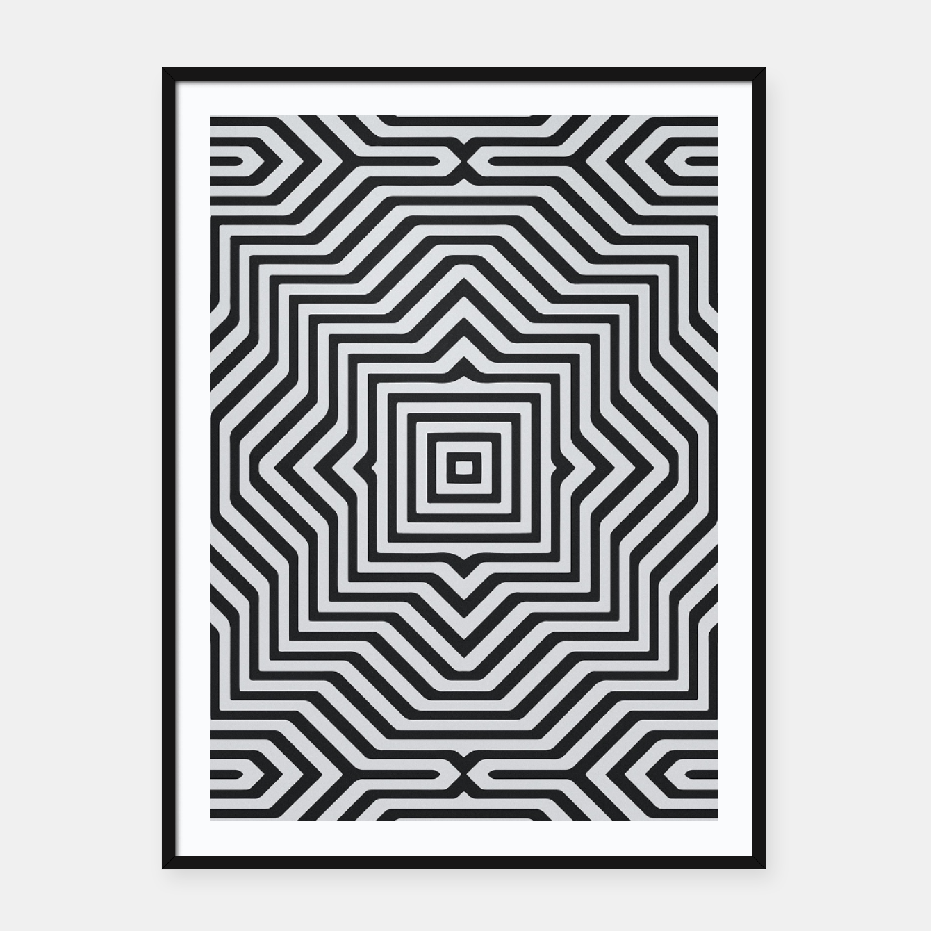 Image de Minimal Geometrical Optical Illusion Style Pattern in Black & White Framed poster - Live Heroes