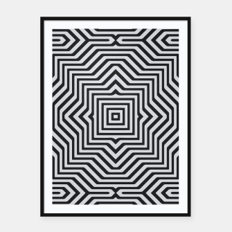 Minimal Geometrical Optical Illusion Style Pattern in Black & White Framed poster miniature