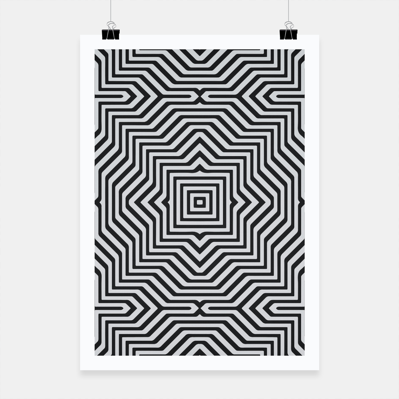 Image de Minimal Geometrical Optical Illusion Style Pattern in Black & White Poster - Live Heroes