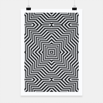 Minimal Geometrical Optical Illusion Style Pattern in Black & White Poster miniature
