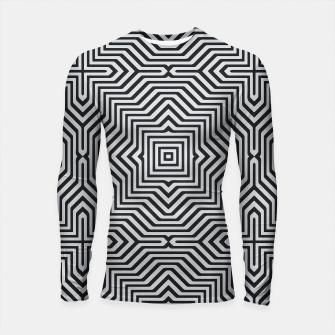 Minimal Geometrical Optical Illusion Style Pattern in Black & White Longsleeve rashguard  miniature