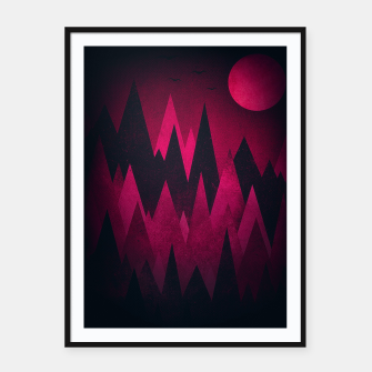Thumbnail image of Dark Triangles (Peak Woods) Abstract Grunge Mountains Design (red/black) Framed poster, Live Heroes