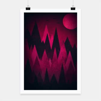 Thumbnail image of Dark Triangles (Peak Woods) Abstract Grunge Mountains Design (red/black) Poster, Live Heroes