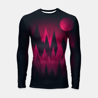 Thumbnail image of Dark Triangles (Peak Woods) Abstract Grunge Mountains Design (red/black) Longsleeve rashguard , Live Heroes