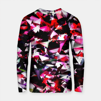 Thumbnail image of psychedelic geometric triangle polygon abstract pattern in red pink black Cotton sweater, Live Heroes