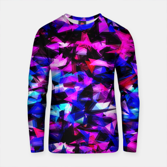 Thumbnail image of psychedelic geometric triangle polygon abstract pattern in pink blue black Cotton sweater, Live Heroes