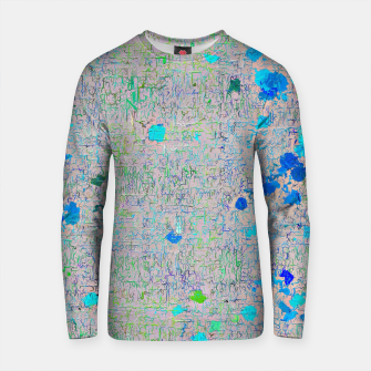 Thumbnail image of psychedelic abstract art texture background in blue green yellow Cotton sweater, Live Heroes