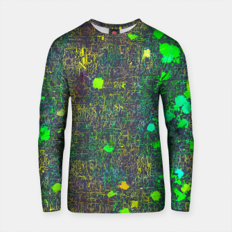 Thumbnail image of psychedelic abstract art texture background in green yellow black Cotton sweater, Live Heroes