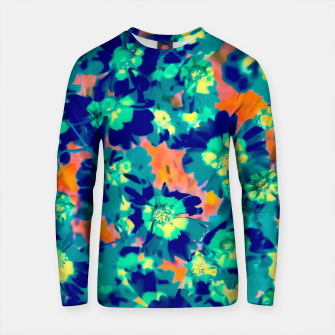Thumbnail image of blooming blue flower with pink background Cotton sweater, Live Heroes