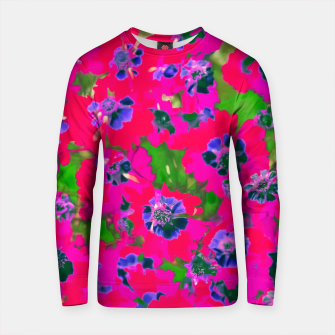 Thumbnail image of blooming pink flower with green leaf background Cotton sweater, Live Heroes