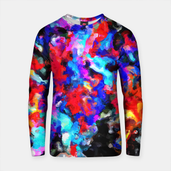 Thumbnail image of psychedelic splash painting abstract texture blue red pink black Cotton sweater, Live Heroes