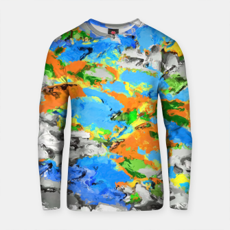 Thumbnail image of psychedelic splash painting abstract texture in blue green orange yellow black Cotton sweater, Live Heroes