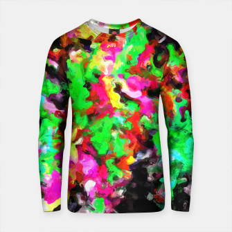 Thumbnail image of psychedelic splash painting abstract texture in pink green yellow black Cotton sweater, Live Heroes