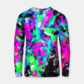 Thumbnail image of psychedelic splash painting abstract texture in pink purple blue green black Cotton sweater, Live Heroes