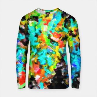 Thumbnail image of psychedelic splash painting abstract texture in blue orange yellow green black Cotton sweater, Live Heroes