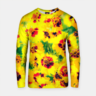 Thumbnail image of blooming yellow flower with green leaf background Cotton sweater, Live Heroes