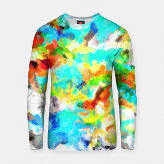 Thumbnail image of psychedelic splash painting abstract texture in blue yellow brown green black Cotton sweater, Live Heroes