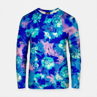 Thumbnail image of blooming blue flower abstract with pink background Cotton sweater, Live Heroes
