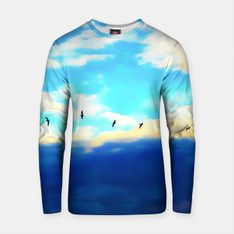 Thumbnail image of birds flying over with blue cloudy sky Cotton sweater, Live Heroes