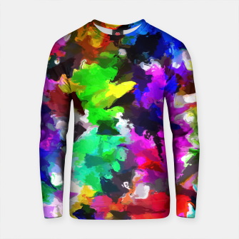 Thumbnail image of psychedelic splash painting abstract texture in pink blue green yellow red black Cotton sweater, Live Heroes