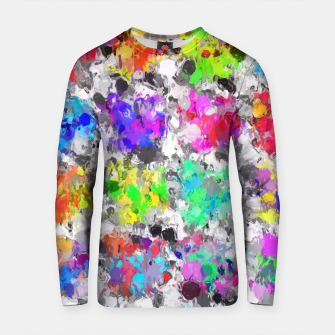 Thumbnail image of colorful psychedelic splash painting abstract texture in pink blue purple green yellow red orange Cotton sweater, Live Heroes