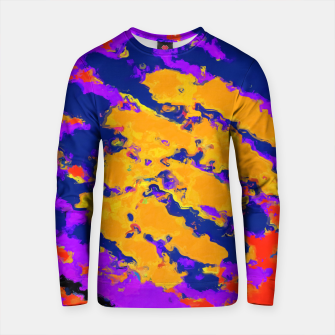 Thumbnail image of psychedelic splash painting abstract texture in red purple blue yellow Cotton sweater, Live Heroes