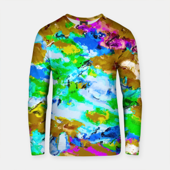 Thumbnail image of psychedelic splash painting abstract texture in brown green blue pink Cotton sweater, Live Heroes