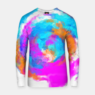 Thumbnail image of psychedelic splash painting abstract texture in blue pink orange Cotton sweater, Live Heroes
