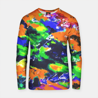Thumbnail image of psychedelic splash painting abstract texture in brown green blue yellow pink Cotton sweater, Live Heroes