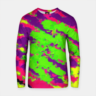 Miniature de image de psychedelic splash painting abstract texture in yellow green pink purple black Cotton sweater, Live Heroes