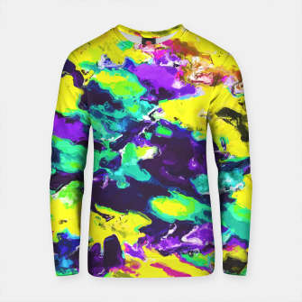 Thumbnail image of psychedelic splash painting abstract texture in yellow blue green purple Cotton sweater, Live Heroes