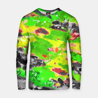 Miniature de image de psychedelic splash painting abstract texture in in green yellow black Cotton sweater, Live Heroes