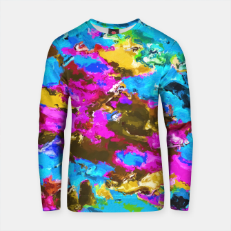 Thumbnail image of psychedelic splash painting abstract texture in blue pink yellow brown green Cotton sweater, Live Heroes