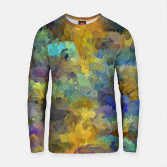 Thumbnail image of psychedelic painting abstract pattern in yellow brown blue Cotton sweater, Live Heroes