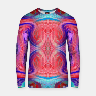Thumbnail image of psychedelic geometric symmetry abstract pattern in red pink blue Cotton sweater, Live Heroes