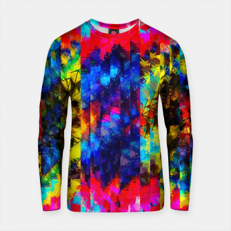 Thumbnail image of psychedelic geometric painting abstract pattern in red pink blue yellow Cotton sweater, Live Heroes