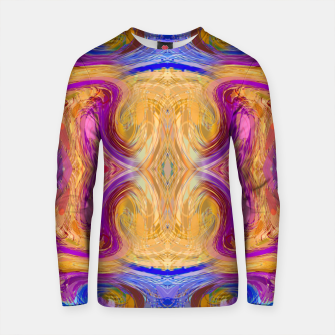 Thumbnail image of psychedelic geometric symmetry abstract pattern in pink yellow blue Cotton sweater, Live Heroes