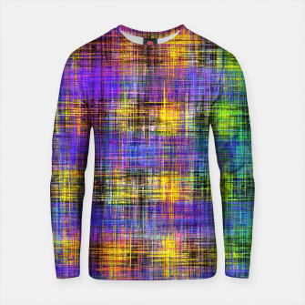 Miniature de image de plaid pattern abstract texture in purple yellow green Cotton sweater, Live Heroes
