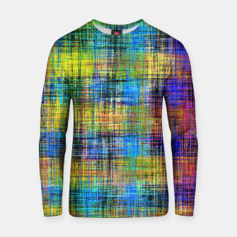 Thumbnail image of plaid pattern abstract texture in yellow pink blue Cotton sweater, Live Heroes