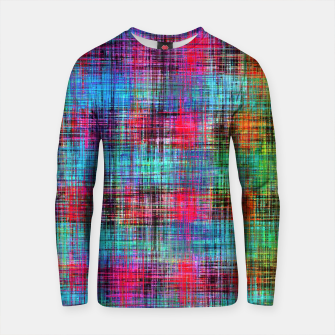 Thumbnail image of plaid pattern abstract texture in blue pink green yellow Cotton sweater, Live Heroes