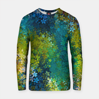 Thumbnail image of flower pattern abstract background in blue yellow green red Cotton sweater, Live Heroes