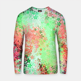 Thumbnail image of flower pattern abstract background in green pink purple blue Cotton sweater, Live Heroes