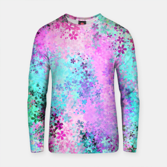Thumbnail image of flower pattern abstract background in pink purple blue green Cotton sweater, Live Heroes