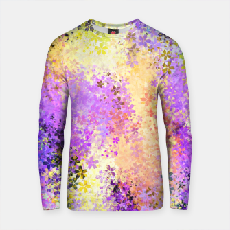Miniature de image de flower pattern abstract background in purple yellow blue green Cotton sweater, Live Heroes