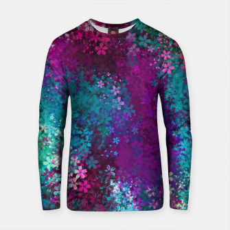 Thumbnail image of flower pattern abstract background in purple pink blue green Cotton sweater, Live Heroes