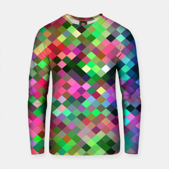 Thumbnail image of geometric square pixel pattern abstract in pink blue green Cotton sweater, Live Heroes