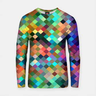 Thumbnail image of geometric square pixel pattern abstract in orange blue purple pink green yellow Cotton sweater, Live Heroes