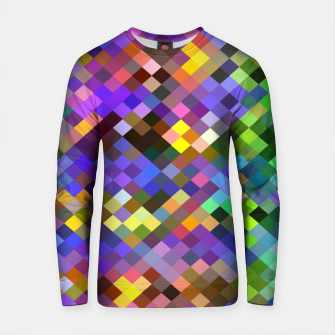 Miniature de image de geometric square pixel pattern abstract in purple pink green yellow Cotton sweater, Live Heroes